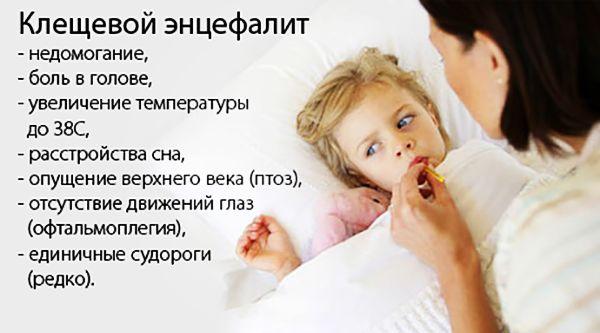 Признаки заболвания клещевым энцефалитом у детей