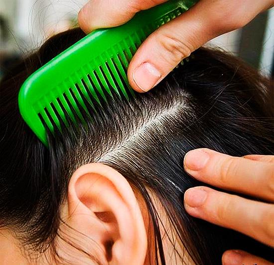 Волосы нужно приподнять гребнем и нанести средство