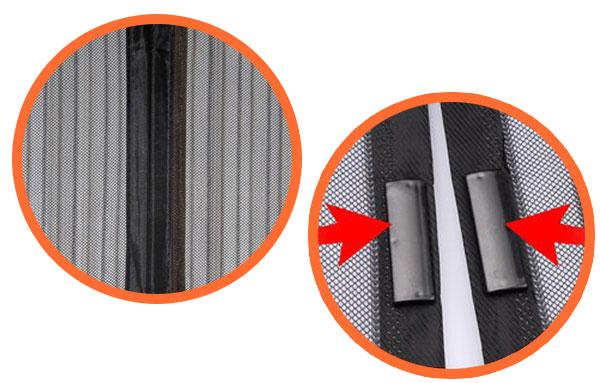 виды магнитных крепежей на антимоскитных сетках на дверь