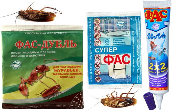 Виды средства от тараканов Фас