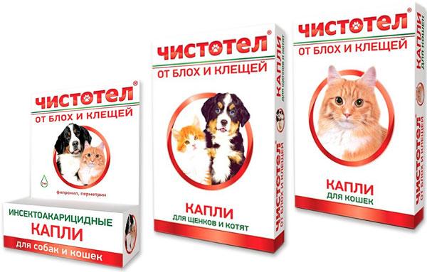 капли Чистотел от блох для кошек и котят