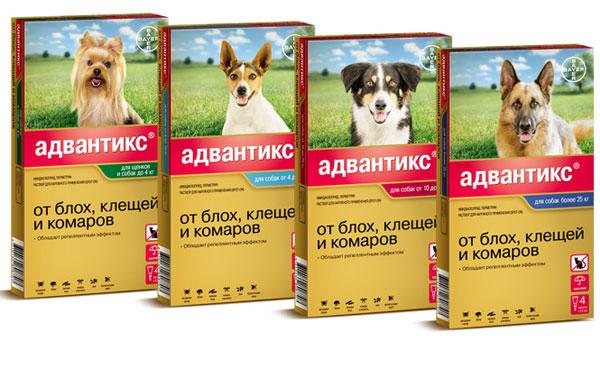 """капли """"Адвантикс"""" от блох и клещей для щенков и собак"""